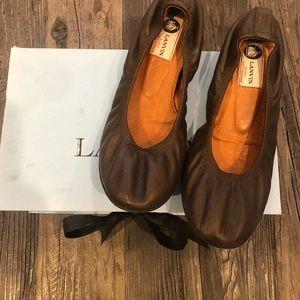 Lanvin Brown Leather Ballet Flats